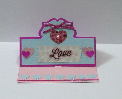 Handmade 3D stand up greeting card easel blue and pink love hearts