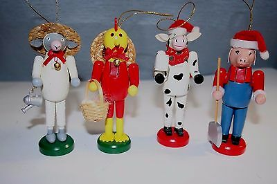 NEW VINTAGE CHRISTMAS WOODEN NUTCRACKER ORNAMENTS Farm Pig Cow Rooster Sheep