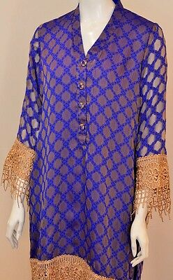 Purple Cotton Net Kurta In The Style Of Agha Noor With Lace And Jewel Buttons