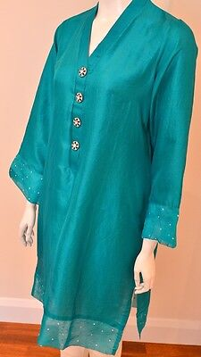 Pure Silk Kurta With Organza And Jewel Embellishments Agha Noor Style