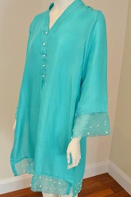 Pure Silk Kurta With Pearl And Organza Embellishments In The Style Of Agha Noor