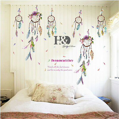 Colorful Chimes Feather Wall Stickers Quotes Removable Art Kids Decal Room Decor
