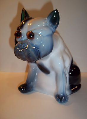 Rare Green & White Slag Glass French Bulldog Doorstop from Westmoreland Mold