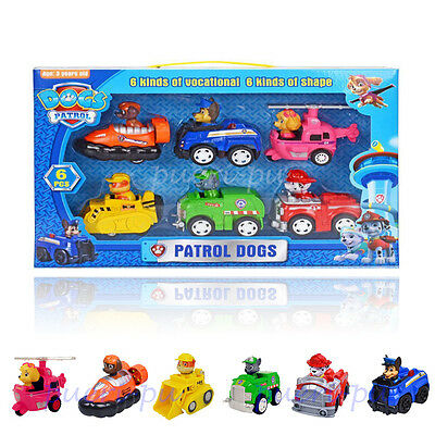 6pcs PAW PATROL Vocational Dogs Cute Toys Nice Gift NEW