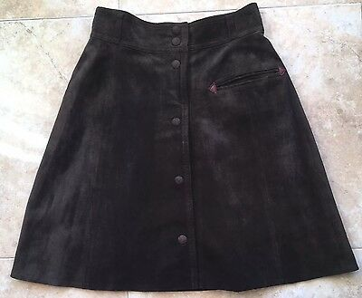 """Vintage Suede Skirt 1970s vibe chocolate brown Button front Boho S W27"""""""