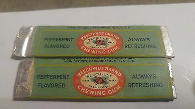 Lot of 2 Vintage Sticks Chewing Gum Wrapper Beech-Nut Peppermint
