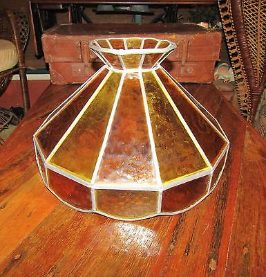 Vintage Leadlite Glass lampshade for overhead hanging light
