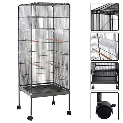 146cm Large Parrot Bird Cage Play Top w/Perch Stand Two Doors Aviary House