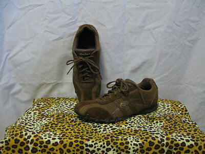 Ladies 10 M SKECHERS Brown Suede & Leather Shoes Lace Up Nice Condition