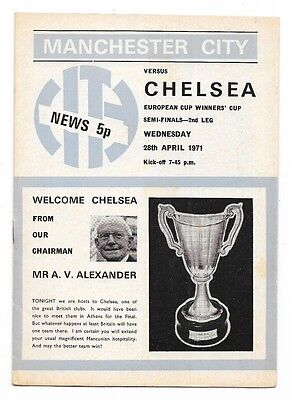 Manchester City v Chelsea, 1970/71 - Cup Winners Cup Semi-Final Programme.