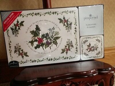 Portmeirion holly and ivy 6 placemats and coasters bnib