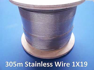 305M 316 Grade Stainless Steel 1X19 Wire Rope Balustrade Deck Marine Cable