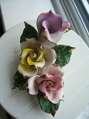 "Capodimonte Type Flowers 3.75"" H X 6.5"" Wide Large Ornament Excellent Condition"