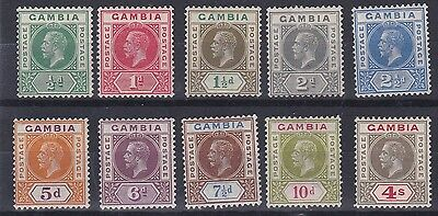 Gambia  1921 - 22  S G 108 - 117  Set Of Ten To 4/-  M H