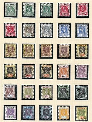 Gambia  1912 - 22   S G  86 - 102  Set  To 5/- + Shades   M H & M N H  Cat £295