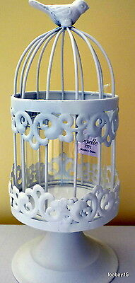 White Metal Lace Pattern Birdcage Candle Holder On Stand Christmas Gift Bnib