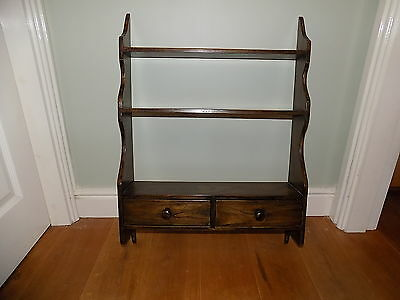 Antique Oak Wall hanging display unit with 2 drawers Oak Wall shelf unit