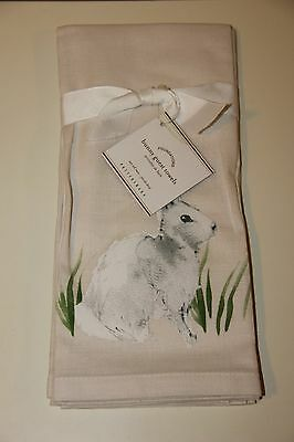 Pottery Barn Bunny Rabbit Watercolor Guest Towels SOLD OUT NWT Easter Decor