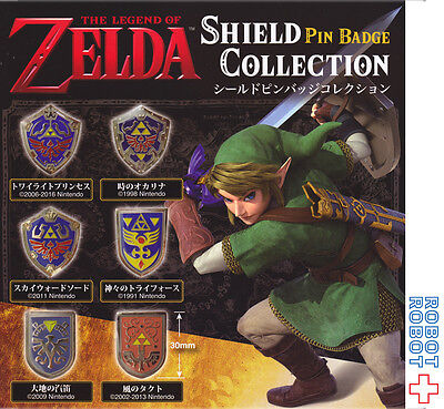 Legend of Zelda Shield Pin Badge Collection x6 pcs set Kyodo Japan Pins
