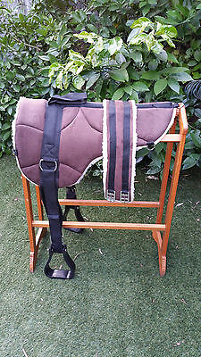 Micro suede BAREBACK PAD with Stirrup and girth -RP1- BROWN