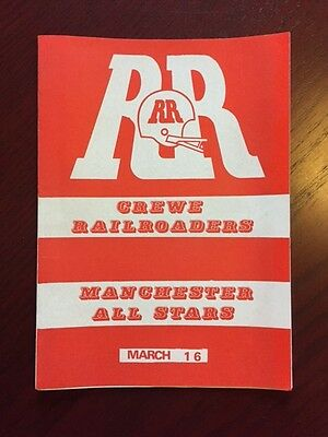 Crewe Railroaders v Manchester All Stars 1986 American Football Programmes 8 pg