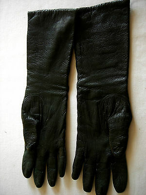 Vintage Ladies Black Kid Leather Gloves,Made In France,Above The Wrist-Sz 6 1/2