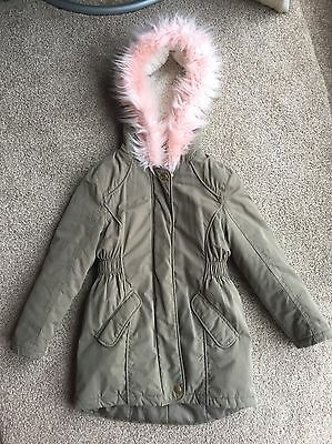 Debenhams Blue Zoo Girls Coat 6-7 Years Khaki Green Pink Fluffy Hood