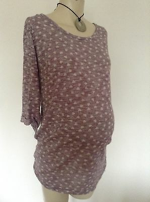 [292] New Look Maternity Purple 3/4 Sleeved Heart Top Size 12
