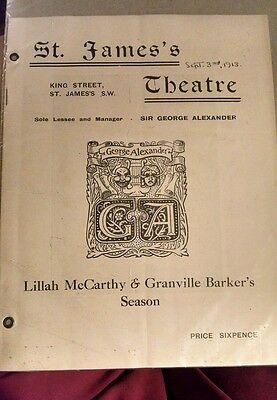 1913 LONDON playbill GEORGE BERNARD SHAW's comedy ANDROCLES & THE LION