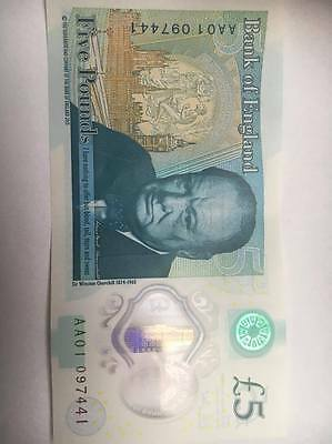 £5 Very low Serial Number AA01 0 Five Pound Note