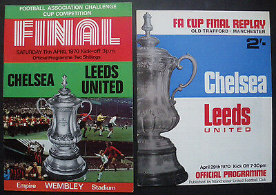 Chelsea FC Leeds United 1970 FA Cup Final Programme + Replay Vintage Football