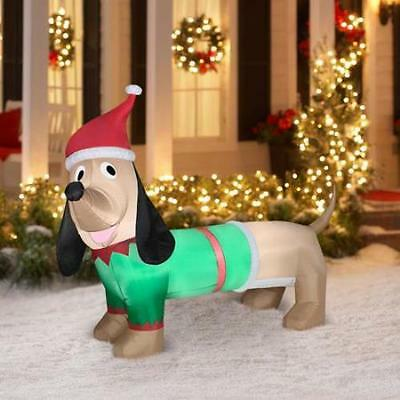 6.5' Dachshund Christmas Airblown Inflatable Outdoor Christmas Decor Wiener Dog
