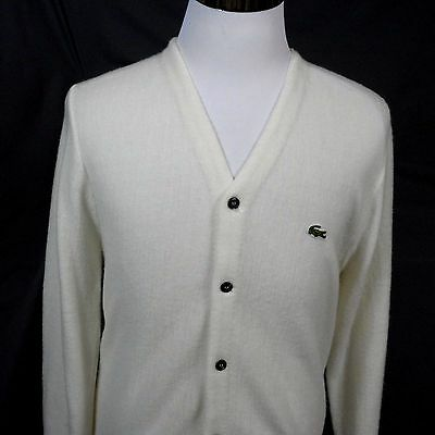 Men's Vintage IZOD Lacoste White Orlon Acrylic Cardigan Sweater Size S - USA