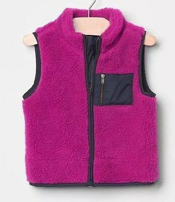 BABY GAP GIRL COLORBLOCK SHERPA VEST SWEATER JACKET NWT, 2T, Sold Out!