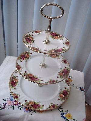 """Royal Albert  """"old Country Roses""""    3 Tier Cake Stand ...original...1St Quality"""