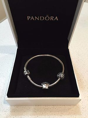 18cm PANDORA two-toned gold charm clip and Silver Bracelet with Silver Clasp
