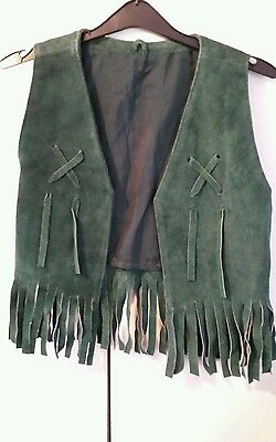 Retro vintage green suede leather fringed cropped waistcoat size 6 8 10 60's 70s