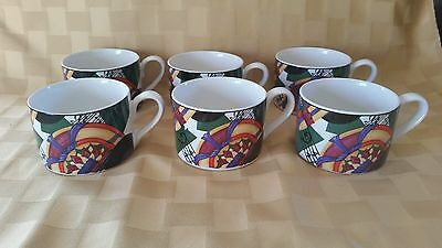 Century Stoneware Jukebox Cups White Multi Border Records Notes Set of 6 Cups
