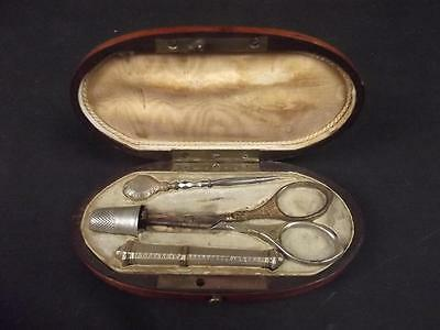 French Late Victorian Gilt Silver Cased Sewing Set