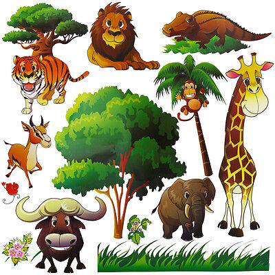 Kids Decor Safari Animal Wall Decal for Nursery Playroom Baby Room Decoration