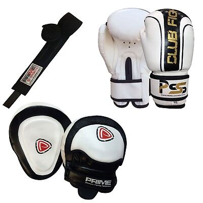Kids boxing gloves punch bag junior mitts & focus pads hand wraps training set 8