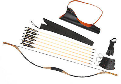 Bow Set Traditional Black Cow Leather Recurve Bow With Quiver + 6 Wooden Arrows
