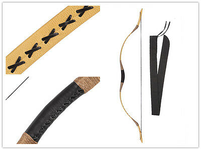 Archery Hunting 20-110Lbs Yellow Leather Recurve Bow  Adults Target Shooting