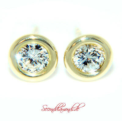 Neuwertige Diamant Ohrstecker ca. 0,76 ct W / VS Gold 750 Earrings Diamonds TOP