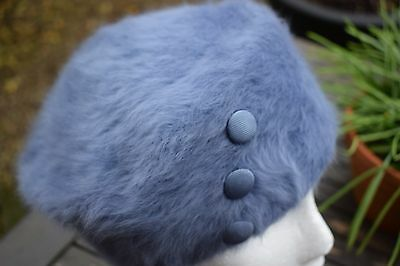 Retro Kangol Hat Blue Beret Style Brushed Wool Buttons Winter Ladies Hat England