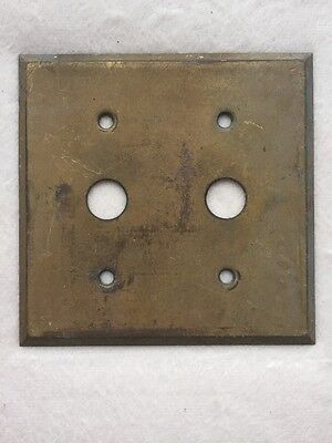 Antique Metal (Brass?) Light Switch Cover Two Push Buttons