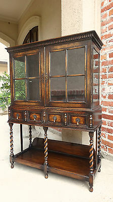 Antique English Carved Oak Display Curio CABINET Sideboard JACOBEAN BARLEY TWIST