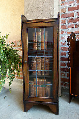 Petite Antique English Oak Leaded Glass Door Bookcase Cabinet Shelf Jacobean