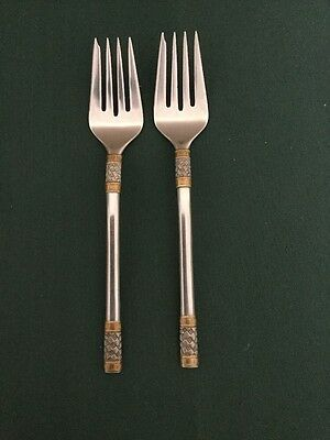 Lot Of 2 Wallace Golden Aegean Weave  Sterling Silver Salad Forks No Monogram