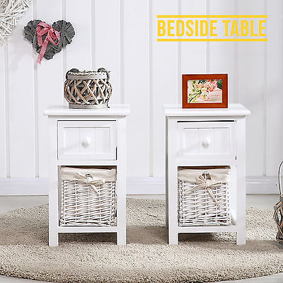 PAIR of Wooden Shabby Chic Bedside Tables Cabinet w/ Storage Wicker Baskets
